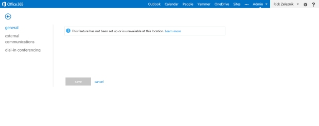 Lync - This feature has not been set up or is unavailable at this location