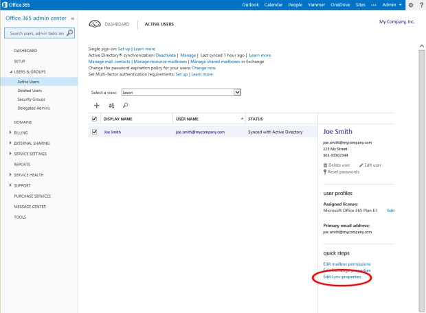 Office 365 Users and Groups Panel - Edit Lync